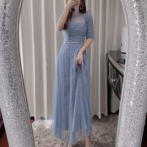 Dress Spring 2020 Blue, white XS,S,M,L longuette singleton  elbow sleeve commute Crew neck High waist Dot Socket Pleated skirt routine Others 25-29 years old Type A Xueyuan style Britain 51% (inclusive) - 70% (inclusive) polyester fiber