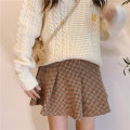 skirt Winter of 2019 S,M,L 72 hours Short skirt Versatile High waist Pleated skirt lattice Type A 18-24 years old 30% and below wool