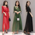 Dress Summer of 2019 Black, red, green S,M,L,XL,2XL,3XL,4XL longuette singleton  three quarter sleeve commute Crew neck middle-waisted Solid color Socket A-line skirt other Others 18-24 years old Type A Other / other Korean version 51% (inclusive) - 70% (inclusive) Chiffon other