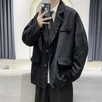 man 's suit Gray, black Others Youth fashion routine M,L,XL,2XL easy Double breasted Other leisure No slits teenagers Long sleeves spring routine Youthful vigor Casual clothes Baling collar Round hem Solid color Regular collar (collar width 7-9cm) 2020 No iron treatment