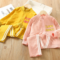 suit Other / other Yellow, pink 100 = 7, 110 = 9, 120 = 11, 130 = 13, 135 = 15 female spring and autumn leisure time Short sleeve + pants 2 pieces routine There are models in the real shooting Socket nothing stripe cotton children Giving presents at school Class B Three, four, five, six, seven, eight