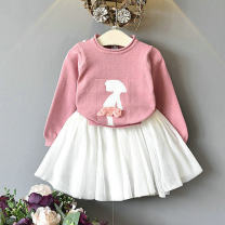 suit Other / other Pink white dress, pink black dress 7 / 80, 9 / 90, 11 / 100, 13 / 110, 15 / 120 female spring and autumn leisure time Long sleeve + skirt 2 pieces Thin money No model Socket nothing Solid color other children Expression of love ddsf008 Class B 3, 4, 5, 6, 7 Chinese Mainland