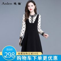 Dress Spring 2021 black M L XL 2XL 3XL Mid length dress singleton  Long sleeves commute Crew neck High waist Solid color Socket A-line skirt routine 35-39 years old Type A Ellen Korean version Splicing AL20636 More than 95% polyester fiber Polyester 100% Pure e-commerce (online only)