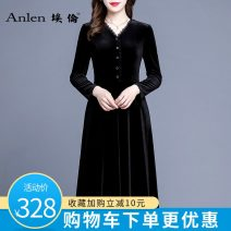 Dress Winter 2020 Black pre-sale 5 days M L XL 2XL 3XL longuette singleton  Long sleeves commute V-neck middle-waisted Solid color Socket A-line skirt routine 35-39 years old Type A Ellen Retro Button AL20558 More than 95% polyester fiber Polyester 95% polyurethane elastic fiber (spandex) 5%
