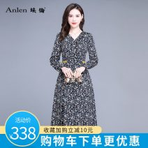 Dress Spring 2021 Broken flowers M L XL 2XL 3XL Mid length dress singleton  Long sleeves commute V-neck middle-waisted Decor Socket A-line skirt routine 35-39 years old Type A Ellen Korean version printing More than 95% polyester fiber Polyester 100% Pure e-commerce (online only)