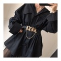 Belt / belt / chain Pu (artificial leather) black female Waistband Versatile Single loop Youth, youth, middle age Smooth button other 4cm alloy Chain, elastic Other / other SPJDDY353 65cm,75cm