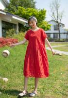 Dress Summer 2020 Red, green, pink Average size longuette singleton  Short sleeve Crew neck High waist Socket Big swing routine To drill More than 95% cotton