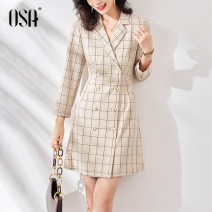 Dress Autumn 2020 brown S M L XL Middle-skirt singleton  Long sleeves commute tailored collar High waist lattice double-breasted A-line skirt other Others 25-29 years old Type A OSA Ol style Resin fixation S120QC13019 91% (inclusive) - 95% (inclusive) other polyester fiber
