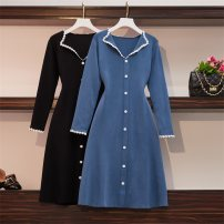 Women's large Winter of 2019, autumn of 2019 Blue, black Large XL, large XXL, large XXL, large XXXXL, large XXXXL Dress singleton  commute Self cultivation thick Cardigan Long sleeves Solid color Korean version V-neck Medium length cotton Collage routine Other / other Lace stitching longuette other