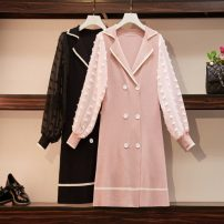Women's large Autumn of 2019 Black, pink L [90-115 Jin recommended], XL [115-135 Jin recommended], 2XL [135-155 Jin recommended], 3XL [155-175 Jin recommended], 4XL [175-200 Jin recommended] Dress singleton  commute easy moderate Socket Long sleeves Solid color Korean version Polo collar puff sleeve