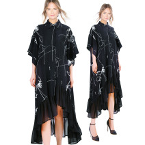Dress Summer 2020 black Average size Mid length dress singleton  Short sleeve street Polo collar Loose waist Solid color Single breasted Irregular skirt routine Others 25-29 years old Type A stella marina collezione Ruffles, stitching, asymmetry More than 95% Chiffon polyester fiber