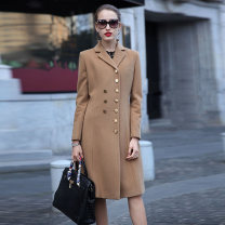 woolen coat Spring of 2019 M,L,XL Camel wool 95% and above have more cash than can be accounted for Long sleeves commute double-breasted routine tailored collar Solid color Self cultivation Ol style Other / other Solid color