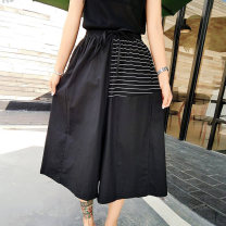 Casual pants black Average size Summer 2020 Cropped Trousers Wide leg pants Natural waist street Thin money 25-29 years old 81% (inclusive) - 90% (inclusive) LLS Cotton blended fabric belt cotton Punk Asymmetry