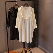 Dress Spring 2021 Black, off white Single code number Mid length dress singleton  Long sleeves commute V-neck Loose waist Solid color routine Baorui literature More than 95% cotton