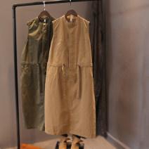Dress Spring 2021 Khaki, army green, black Single code number Mid length dress singleton  Sleeveless commute Solid color Hemp taste literature More than 95% cotton