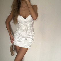 Dress Summer 2020 white S,M,L Short skirt singleton  Sleeveless street One word collar middle-waisted Solid color zipper A-line skirt other camisole 18-24 years old Type A 31% (inclusive) - 50% (inclusive) other other