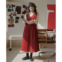 Dress Winter 2020 Black, red XS,S,M Mid length dress singleton  Sleeveless commute V-neck High waist Solid color Single breasted A-line skirt Others 18-24 years old Type A Button 31% (inclusive) - 50% (inclusive) polyester fiber