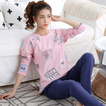 Pajamas / housewear set female Han Zhiyun M L XL XXL XXXL cotton Long sleeves Cartoon Leisure home spring routine Crew neck Solid color trousers Socket youth 2 pieces rubber string More than 95% pure cotton printing one thousand and seventy-eight 220g