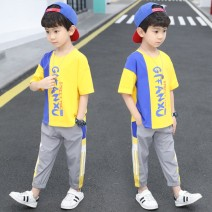 suit Chrome Anta wild goose Yellow, pink 100cm,130cm,160cm,150cm,110cm,140cm,170cm,120cm male summer motion Short sleeve + pants 2 pieces Thin money There are models in the real shooting Socket nothing Solid color cotton children Giving presents at school XNXZTZ-6093-6 Class B Other 100%