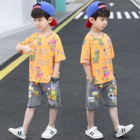 suit Chrome Anta wild goose Green, orange 130cm,150cm,140cm,170cm,100cm,160cm,110cm,120cm male summer motion Short sleeve + pants 2 pieces Thin money There are models in the real shooting Socket nothing Cartoon animation cotton children Giving presents at school XNXZTZ-6068-6 Class B Other 100%