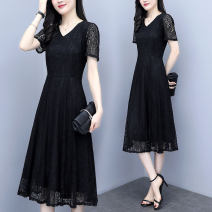 Dress Lace Summer of 2019 Medium length skirt Short sleeve singleton  street Solid color V-neck middle-waisted zipper Big swing routine 51% (inclusive) - 70% (inclusive) Type A polyester fiber Other 6 Gouhua, hollowed out, zipper, lace M,L,XL,2XL,3XL,4XL,5XL