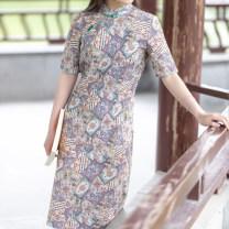 cheongsam Summer 2020 S,M,L,XL Blue, green Short sleeve Single cheongsam Retro Low slit daily Oblique lapel Decor Piping Yu Xiang cotton 71% (inclusive) - 80% (inclusive)
