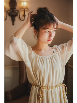 Dress Summer 2020 Apricot, apricot pre-sale 10 working days S,M,L longuette singleton  three quarter sleeve commute Crew neck Loose waist Socket Big swing Bat sleeve Others 25-29 years old Type A Nanfeng Valley Retro More than 95%