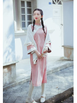 cheongsam Autumn 2020 S,M,L Long sleeves long cheongsam Retro Low slit daily Oblique lapel stripe 25-35 years old Piping Nanfeng Valley 96% and above