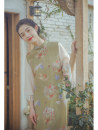 cheongsam Spring 2021 S,M,L Avocado Green, Avocado Green pre-sale 7 working days, Avocado Green pre-sale 21 working days three quarter sleeve long cheongsam Retro Low slit daily Oblique lapel Decor 25-35 years old Piping Nanfeng Valley cotton 31% (inclusive) - 50% (inclusive)