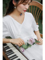 cheongsam Summer 2020 S,M,L White rose, white rose pre-sale 7 working days, white rose short Short sleeve Single cheongsam Retro No slits daily Oblique lapel Decor 25-35 years old Piping Nanfeng Valley Cellulose acetate 81% (inclusive) - 90% (inclusive)