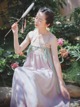 Dress Summer 2020 Hosta powder, Hosta powder pre-sale 10 working days S,M,L Mid length dress singleton  Sleeveless commute other High waist Decor Socket Big swing other camisole 25-29 years old Type A Nanfeng Valley Retro Tassel, backless, embroidery, stitching, gauze net other Cellulose acetate