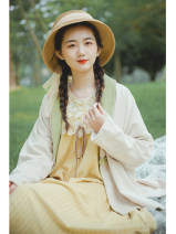 short coat Autumn 2020 S,M,L Apricot, apricot pre-sale 10 working days Long sleeves have cash less than that is registered in the accounts routine singleton  Bat type commute routine V-neck A button Plants and flowers 25-29 years old Nanfeng Valley Embroidery, buttons, stitching other