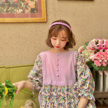 Dress Summer 2020 Purple mosaic flower S pre-sale can wait for order, m pre-sale can wait for order, s spot, m spot Mid length dress Fake two pieces elbow sleeve commute Crew neck High waist Single breasted puff sleeve Type H Double summer Retro Ruffles, stitching, strapping
