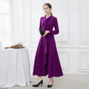 Dress Autumn 2020 Bright purple, red sandalwood, Meiyan 14,12,8,10 longuette singleton  Long sleeves commute Admiral middle-waisted Decor zipper Big swing routine Others 30-34 years old Type A RAVISH LUMINOUS Ol style Bowknot, lace, stitching, three-dimensional decoration, zipper, printing C898 other