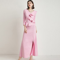 Dress Spring 2020 XianFen 12,14,8,10 longuette singleton  Long sleeves street V-neck middle-waisted Solid color zipper other routine Others 30-34 years old Type X RAVISH LUMINOUS Ruffle, fold, stitching, three-dimensional decoration, asymmetry, wave, zipper, 3D C815 51% (inclusive) - 70% (inclusive)