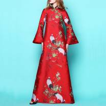Dress Winter 2020 Red crane spot, silver crane spot S,M,L,XL,2XL,3XL longuette singleton  Long sleeves commute stand collar middle-waisted Decor zipper A-line skirt pagoda sleeve Others 30-34 years old Type A Retro MST 71% (inclusive) - 80% (inclusive) other other