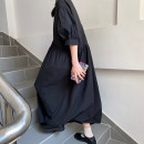 Dress Summer 2020 Black, white Average size Mid length dress singleton  Short sleeve commute Crew neck High waist Solid color Socket Pleated skirt puff sleeve 18-24 years old Other / other Korean version Pleats, buttons 8QS1091 31% (inclusive) - 50% (inclusive) other