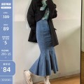 skirt Summer 2020 S,M,L,XL Black, blue Mid length dress commute High waist Denim skirt Solid color Type A 18-24 years old 31% (inclusive) - 50% (inclusive) Denim Other / other Ruffles, zippers Korean version