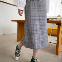 skirt Spring 2020 S,M,L Apricot, grey Mid length dress commute High waist other lattice Type H 18-24 years old 31% (inclusive) - 50% (inclusive) Other / other Retro