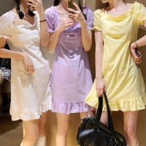 Dress Summer 2020 Yellow, purple, white Average size Mid length dress singleton  Short sleeve Sweet square neck High waist Solid color Socket puff sleeve 18-24 years old Type H Other / other Auricularia auricula, lace up, zipper 281Q210 31% (inclusive) - 50% (inclusive) other other Lolita