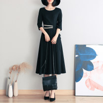 Dress Spring 2020 black S,M,L,XL,2XL,3XL Mid length dress singleton  three quarter sleeve commute Crew neck High waist Solid color Socket A-line skirt routine Others Type A Southern Style Korean version L2019032808