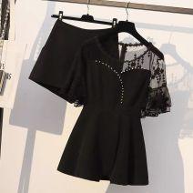 Fashion suit Spring 2021 M suggests 80-100kg, l 100-120kg, XL 120-140kg, 2XL 140-160kg, 3XL 160-180kg, 4XL 180-200kg Black [two piece set], one piece black shorts, one piece black top