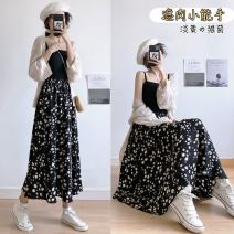 skirt Spring 2021 One size, plus size Black [Daisy] Mid length dress High waist A-line skirt Other / other printing