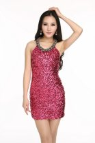 Dress / evening wear Wedding, party, company annual meeting, performance, daily life One size fits all chest 80-92cm Silver, rosy, Fushia, blue, gold, black, purple Korean version Short skirt Hanging neck style Netting Sleeveless Nail bead Solid color 91% (inclusive) - 95% (inclusive) Sequins