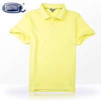 T-shirt Picture color Longstreet / Lanshi 120cm 130cm 140cm 150cm 160cm 165cm 170cm male Short sleeve Lapel and pointed collar college Pure cotton (100% cotton content) Solid color Cotton 100%