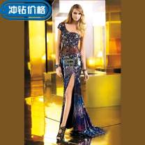 Dress / evening wear Date, routine, performance, company annual meeting, party, rite of passage, wedding Custom size fashion longuette Spring 2016 fish tail Single shoulder type Hollowing out Netting 18-25 years old Sleeveless Diamond ornament
