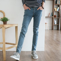 Jeans Youth fashion Others 27, 28, 29, 30, 31, 32, 33, 34 Make old blue routine Micro bomb Regular denim trousers Other leisure Four seasons teenagers middle-waisted Slim feet Exquisite Korean style Pencil pants zipper washing Five bags washing Cotton polyester