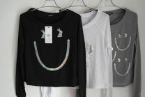 T-shirt White, light grey, black XXS,XS,S,M,L Spring 2014 Long sleeves Crew neck easy have cash less than that is registered in the accounts raglan sleeve commute cotton 51% (inclusive) - 70% (inclusive) Animal design Sequins