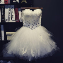 Dress / evening wear Wedding, adulthood, party, company annual meeting, performance, routine, appointment L,M,S,XL Pure white princess Short skirt middle-waisted Spring 2020 Fluffy skirt Chest type Bandage Netting Sleeveless Diamond ornament Solid color Acrylic