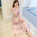 Dress Summer 2021 Pink S M L XL longuette singleton  elbow sleeve commute Crew neck High waist Decor zipper Big swing routine Others 18-24 years old Type A Shiya Korean version Resin fixation 3D printing of button zipper with pleated stitching More than 95% Chiffon polyester fiber Polyester 100%